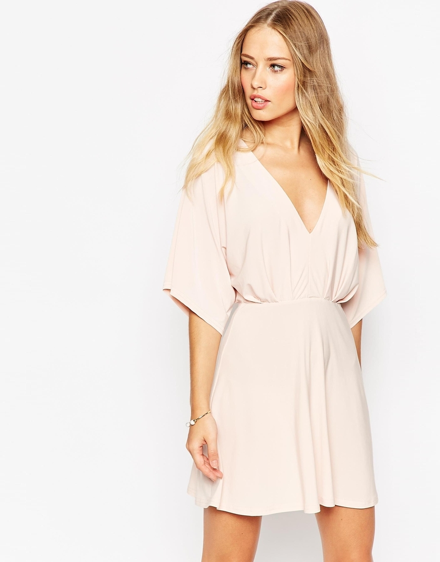 Kimono Plunge Mini Dress Nude - style: empire line; length: mid thigh; neckline: plunge; fit: empire; pattern: plain; sleeve style: kimono; predominant colour: blush; occasions: casual; sleeve length: half sleeve; pattern size: standard; texture group: jersey - stretchy/drapey; season: a/w 2015; wardrobe: basic