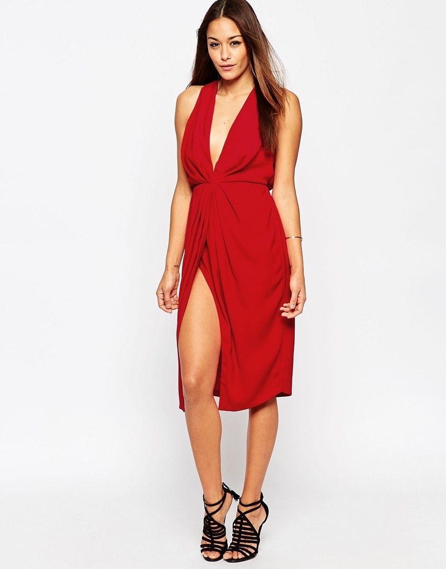 Twist Front Plunge Midi Dress Red - neckline: plunge; fit: fitted at waist; pattern: plain; sleeve style: sleeveless; style: blouson; waist detail: twist front waist detail/nipped in at waist on one side/soft pleats/draping/ruching/gathering waist detail; predominant colour: true red; occasions: evening, occasion; length: on the knee; fibres: polyester/polyamide - 100%; hip detail: slits at hip; sleeve length: sleeveless; texture group: crepes; pattern type: fabric; season: a/w 2015
