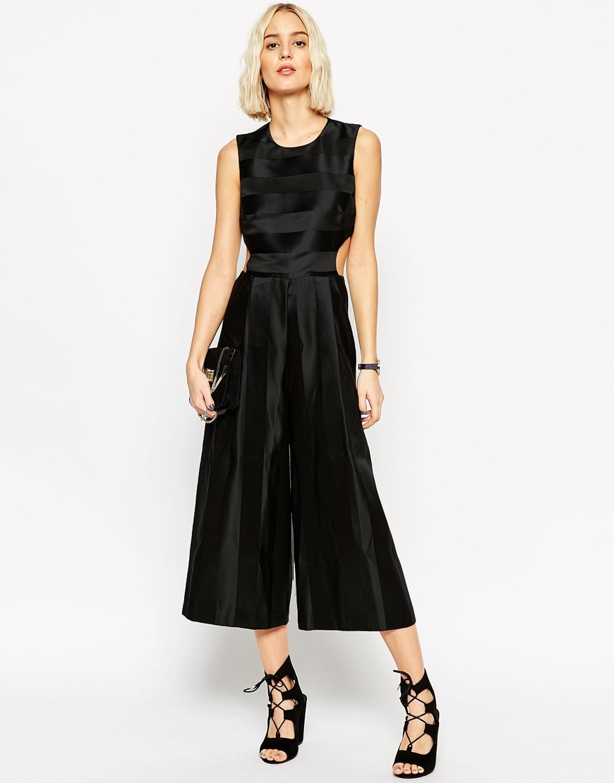 Premium Jumpsuit With Satin Stripe And Cut Out Detail Black - neckline: round neck; fit: fitted at waist; pattern: plain; sleeve style: sleeveless; predominant colour: black; occasions: evening, occasion; length: calf length; fibres: polyester/polyamide - 100%; sleeve length: sleeveless; style: jumpsuit; pattern type: fabric; texture group: other - light to midweight; season: a/w 2015; wardrobe: event