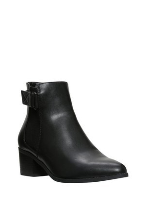 Wide Fit Pointed Toe Block Heel Chelsea Boots In Black Size Adult - predominant colour: black; occasions: casual, creative work; material: leather; heel height: mid; embellishment: buckles; heel: block; toe: round toe; boot length: ankle boot; style: standard; finish: plain; pattern: plain; season: a/w 2015; wardrobe: basic
