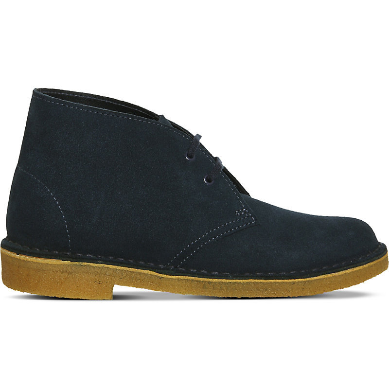 Suede Desert Boots, Women's, Navy Suede Natural - predominant colour: navy; occasions: casual, creative work; material: suede; heel height: flat; heel: block; toe: round toe; boot length: ankle boot; style: standard; finish: plain; pattern: plain; season: a/w 2015