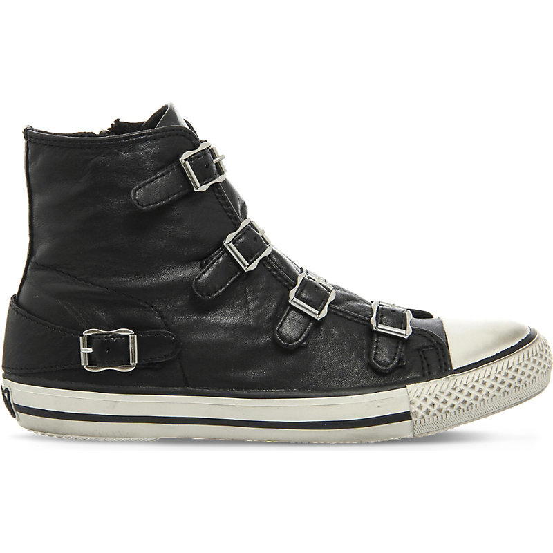 Virgin Leather High Top Trainers, Women's, Black Nappa Wax - predominant colour: black; occasions: casual; material: leather; heel height: flat; embellishment: buckles; heel: block; toe: round toe; boot length: ankle boot; style: high top; finish: plain; pattern: plain; season: a/w 2015; wardrobe: basic