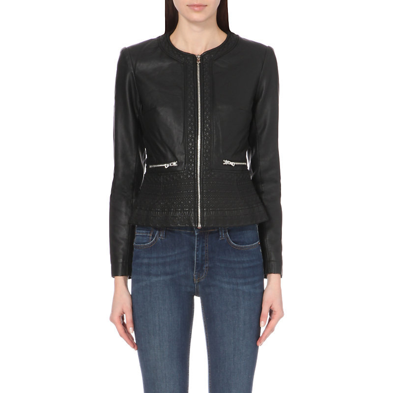 Diamond Stitch Faux Leather Jacket, Women's, Black - pattern: plain; style: biker; collar: standard biker; predominant colour: black; occasions: casual, evening, creative work; length: standard; fit: tailored/fitted; sleeve length: long sleeve; sleeve style: standard; texture group: leather; collar break: high/illusion of break when open; pattern type: fabric; embellishment: zips; season: a/w 2015; wardrobe: basic