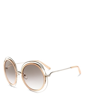 Carlina Oversized Round Sunglasses, 58mm - predominant colour: gold; occasions: casual, holiday; style: round; size: large; material: plastic/rubber; pattern: plain; finish: plain; secondary colour: clear; season: a/w 2015; wardrobe: basic