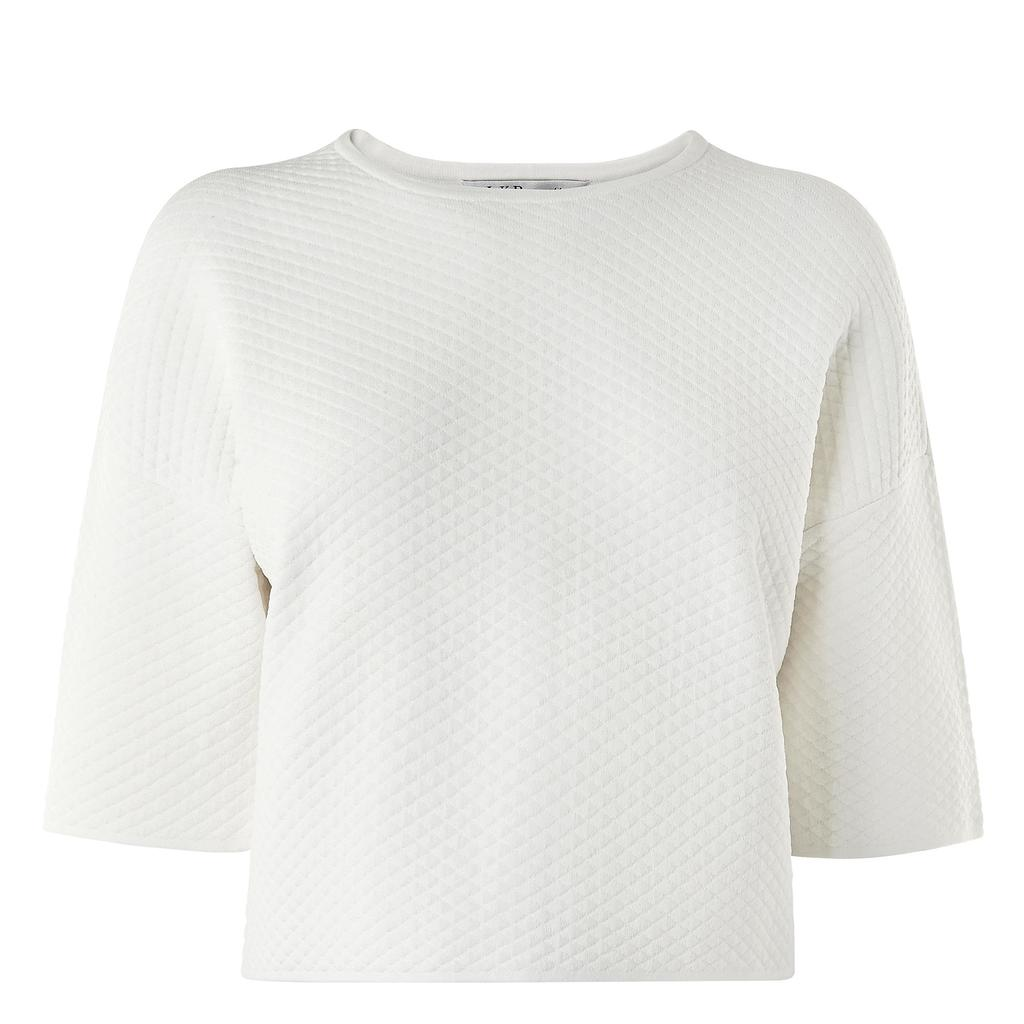 Alea Cream Textured Crop Top White Cream - neckline: round neck; pattern: plain; length: cropped; predominant colour: ivory/cream; occasions: casual, work, creative work; style: top; fit: straight cut; sleeve length: 3/4 length; sleeve style: standard; pattern type: fabric; texture group: other - light to midweight; season: a/w 2015; wardrobe: basic