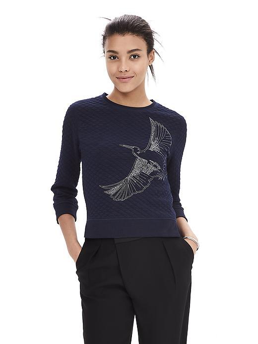 Embroidered Jacquard Top Preppy Navy - neckline: round neck; pattern: plain; predominant colour: navy; occasions: casual; length: standard; style: top; fibres: cotton - mix; fit: body skimming; sleeve length: long sleeve; sleeve style: standard; pattern type: fabric; texture group: brocade/jacquard; embellishment: embroidered; season: a/w 2015; wardrobe: highlight