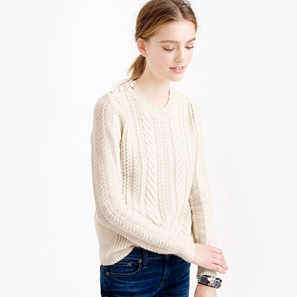 Perfect Cable Sweater - neckline: round neck; style: standard; pattern: cable knit; predominant colour: ivory/cream; occasions: casual, work, creative work; length: standard; fit: standard fit; sleeve length: long sleeve; sleeve style: standard; texture group: knits/crochet; pattern type: knitted - fine stitch; pattern size: light/subtle; season: a/w 2015; wardrobe: highlight