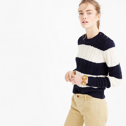 Perfect Cable Sweater In Stripe - neckline: round neck; pattern: horizontal stripes; style: standard; secondary colour: white; predominant colour: navy; occasions: casual, creative work; length: standard; fit: standard fit; sleeve length: long sleeve; sleeve style: standard; texture group: knits/crochet; pattern type: knitted - other; pattern size: big & busy (top); season: a/w 2015