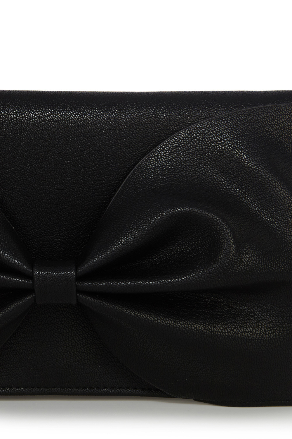 Bow Bag Clutch - predominant colour: black; occasions: evening, occasion; style: clutch; length: hand carry; size: standard; material: fabric; pattern: plain; finish: plain; season: a/w 2015; wardrobe: event