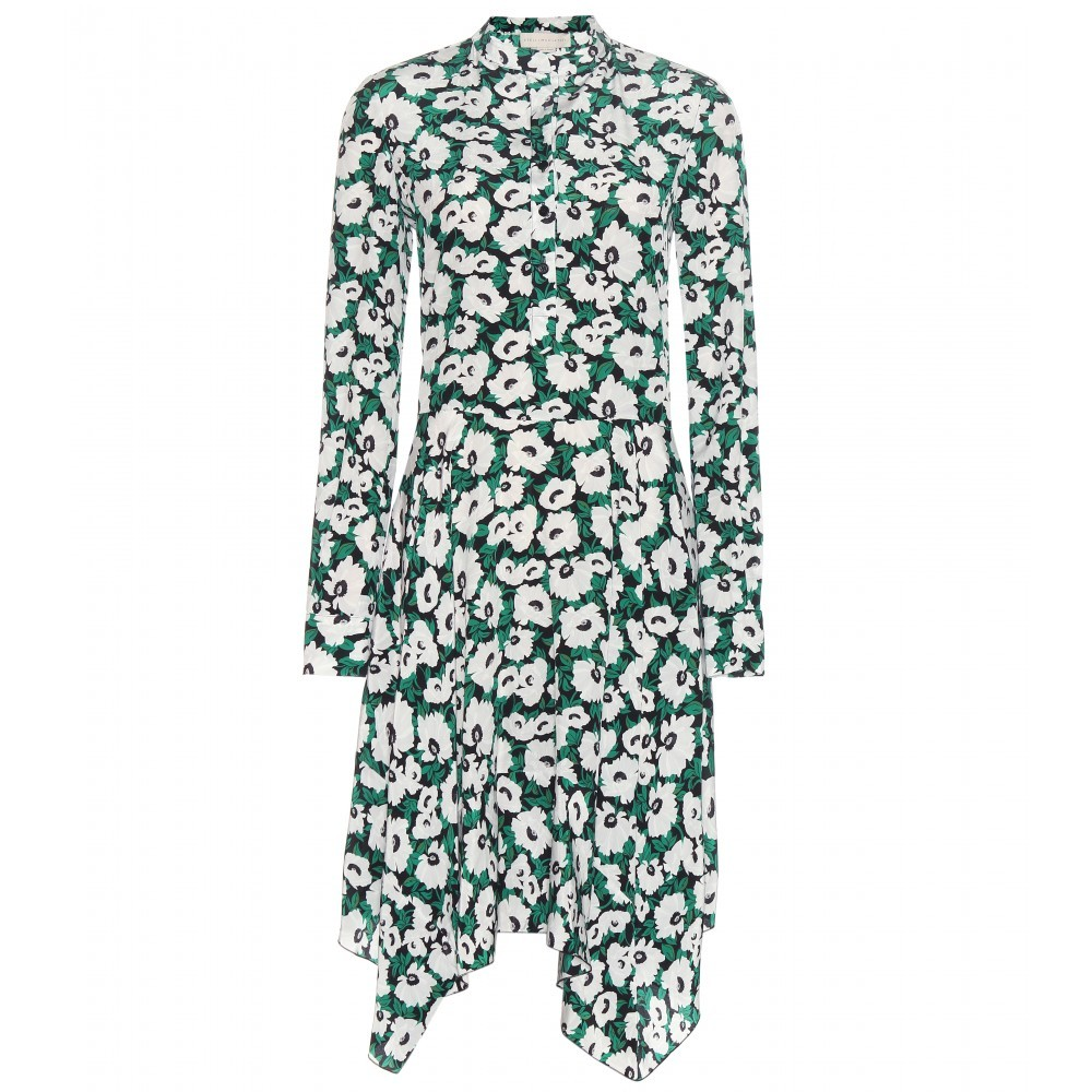 Floral Printed Silk Dress - style: shirt; secondary colour: white; predominant colour: dark green; occasions: evening; length: on the knee; fit: body skimming; neckline: collarstand; fibres: silk - 100%; sleeve length: long sleeve; sleeve style: standard; texture group: silky - light; pattern type: fabric; pattern: florals; multicoloured: multicoloured; season: a/w 2015