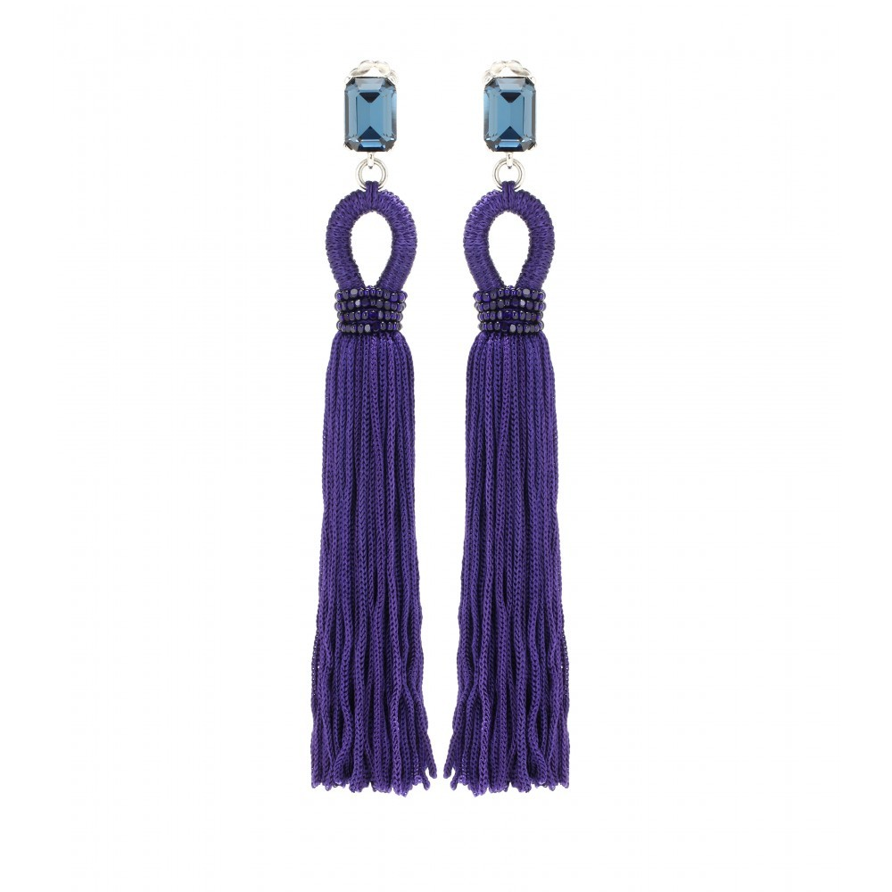 Embellished Tassel Clip On Earrings - predominant colour: purple; secondary colour: pale blue; occasions: evening, occasion; style: drop; length: extra long; size: large/oversized; material: chain/metal; fastening: pierced; finish: plain; embellishment: tassels; season: a/w 2015