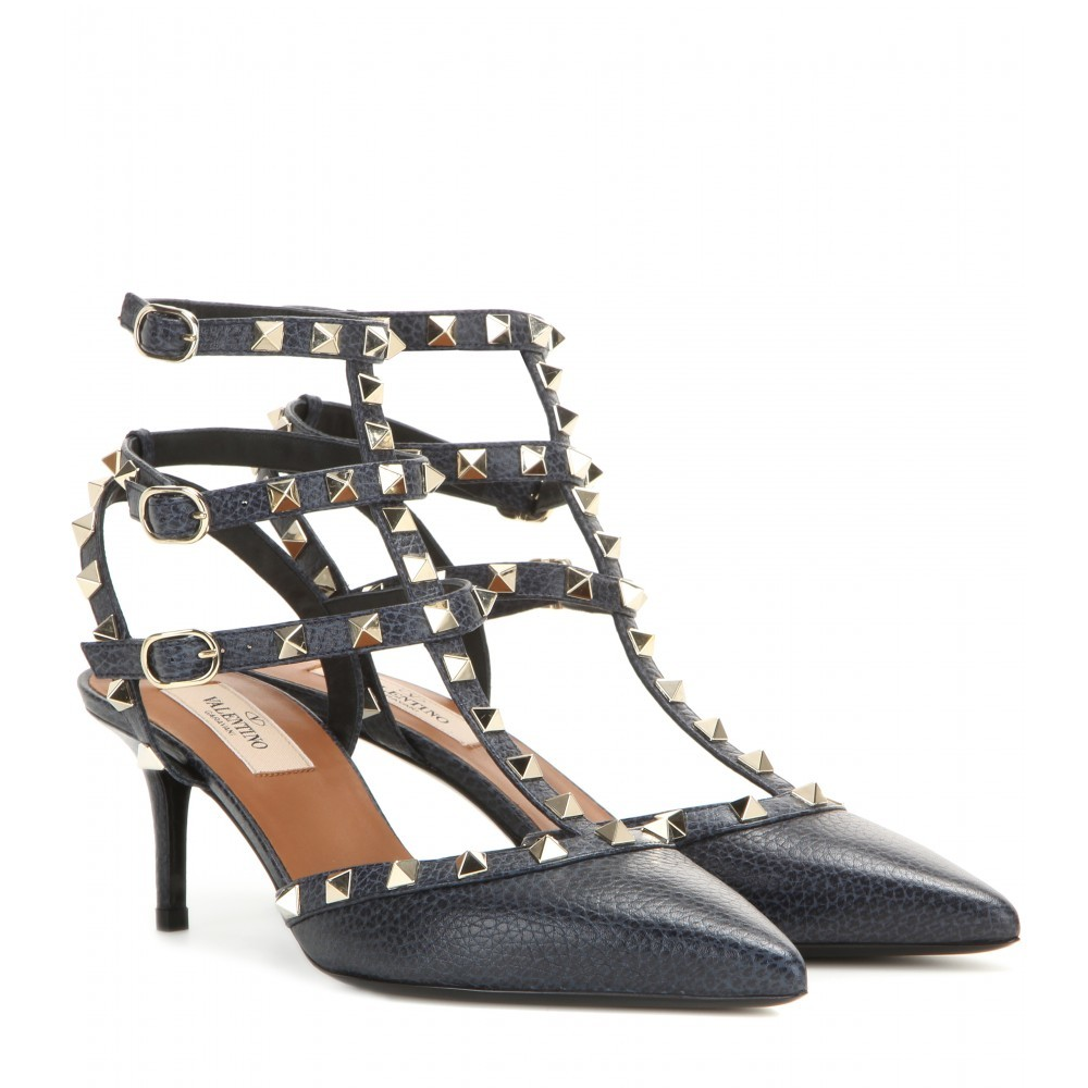 Garavani Rockstud Leather Pumps - secondary colour: silver; predominant colour: black; occasions: evening, occasion; material: leather; heel height: high; embellishment: studs; ankle detail: ankle strap; heel: kitten; toe: pointed toe; style: courts; finish: plain; pattern: plain; season: a/w 2015; wardrobe: event