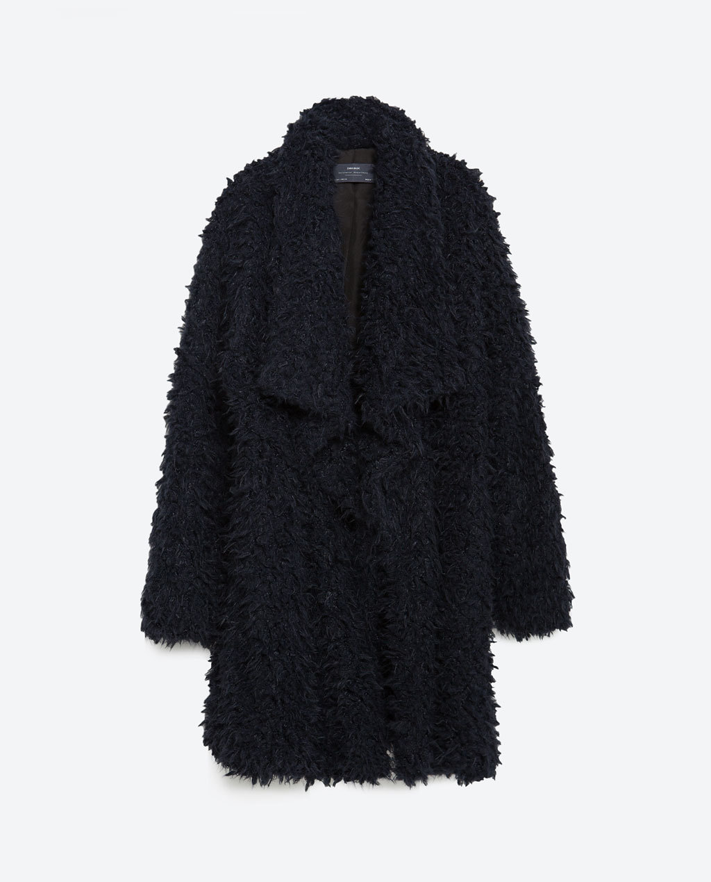 Long Fur Coat - pattern: plain; collar: shawl/waterfall; length: mid thigh; predominant colour: black; occasions: evening, occasion, creative work; fit: straight cut (boxy); fibres: acrylic - mix; style: fur coat; sleeve length: long sleeve; sleeve style: standard; texture group: fur; collar break: low/open; pattern type: fabric; season: a/w 2015