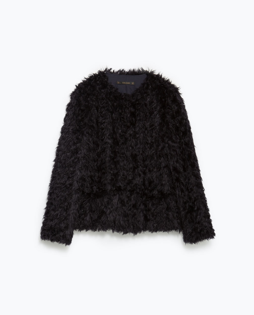 Faux Fur Jacket - pattern: plain; collar: round collar/collarless; style: boxy; predominant colour: black; occasions: casual, evening, creative work; length: standard; fit: straight cut (boxy); fibres: acrylic - mix; sleeve length: long sleeve; sleeve style: standard; texture group: fur; collar break: high/illusion of break when open; pattern type: fabric; season: a/w 2015