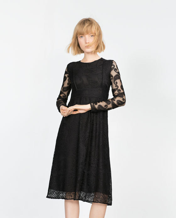 Patchwork Lace Dress - length: below the knee; predominant colour: black; occasions: evening, occasion; fit: fitted at waist & bust; style: fit & flare; fibres: polyester/polyamide - 100%; neckline: crew; hip detail: soft pleats at hip/draping at hip/flared at hip; sleeve length: long sleeve; sleeve style: standard; texture group: lace; pattern type: fabric; pattern size: standard; pattern: patterned/print; shoulder detail: sheer at shoulder; season: a/w 2015; trends: romantic goth; wardrobe: event
