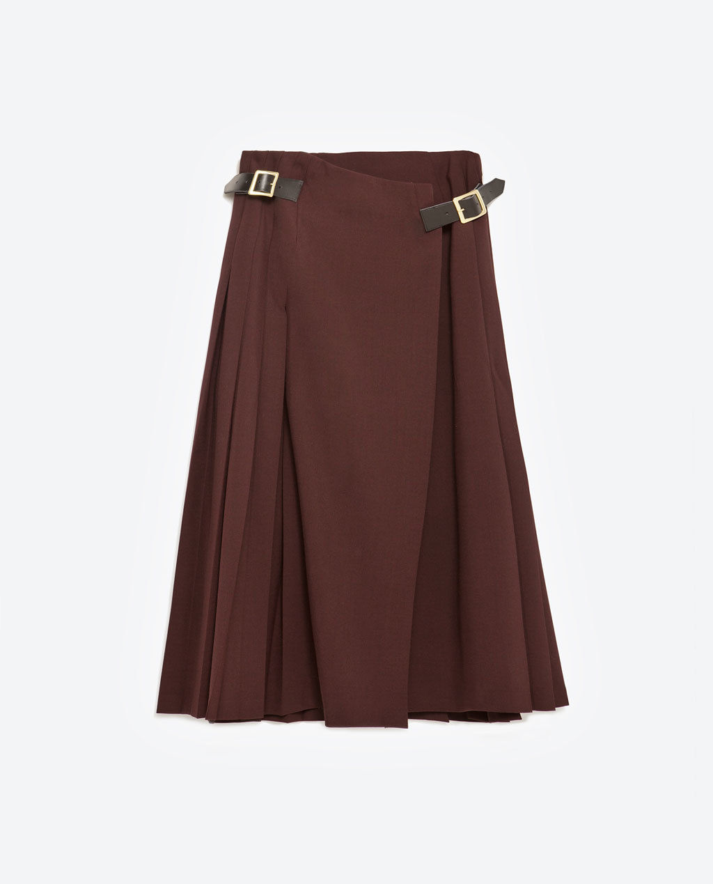 Mid Length Box Pleat Skirt With Side Buckles - length: below the knee; pattern: plain; fit: loose/voluminous; style: pleated; waist detail: belted waist/tie at waist/drawstring; waist: mid/regular rise; predominant colour: burgundy; occasions: casual, creative work; fibres: polyester/polyamide - stretch; hip detail: subtle/flattering hip detail; pattern type: fabric; texture group: woven light midweight; season: a/w 2015; wardrobe: highlight