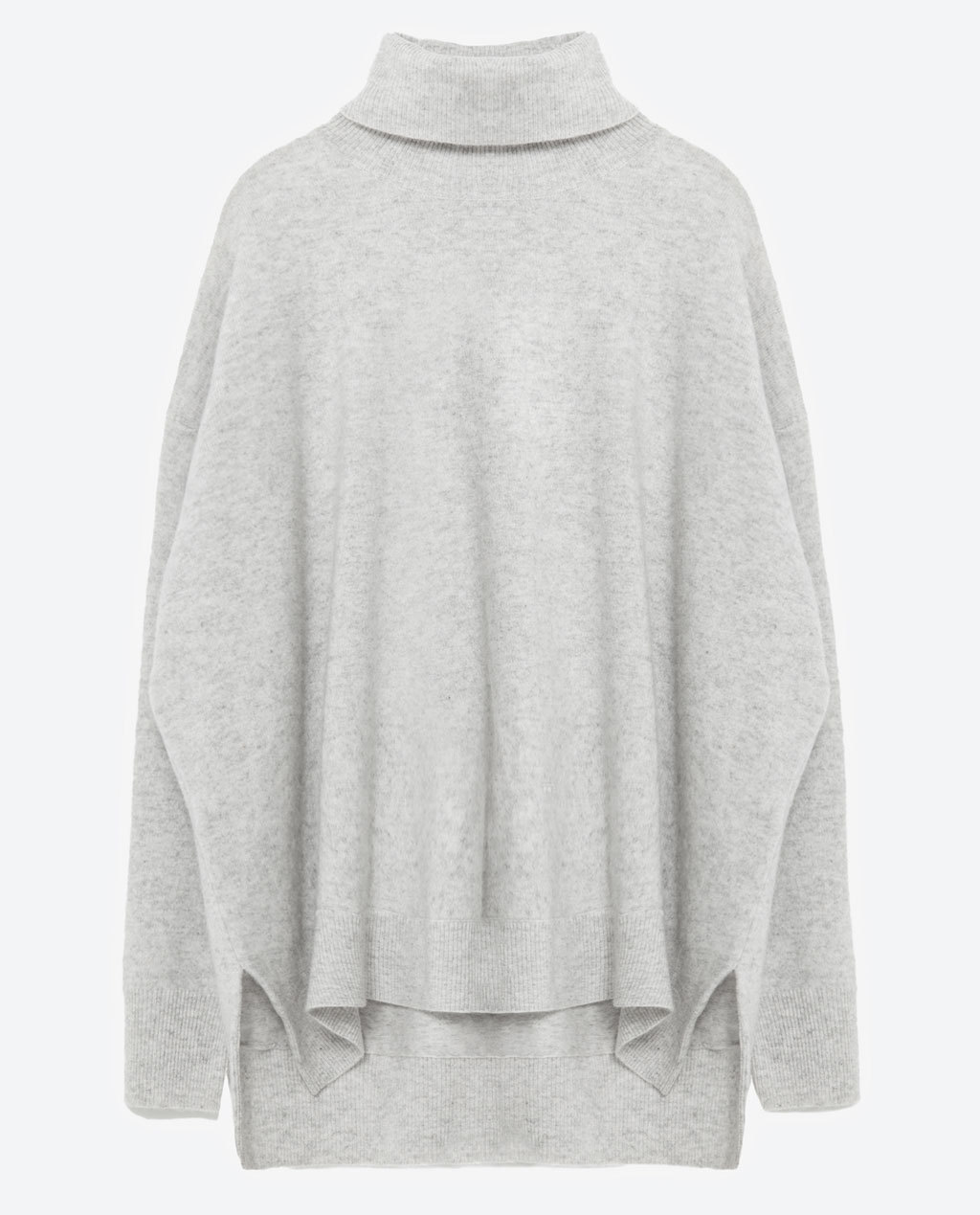 Oversized Cashmere Sweater - sleeve style: dolman/batwing; pattern: plain; length: below the bottom; neckline: roll neck; style: standard; predominant colour: light grey; occasions: casual, creative work; fit: loose; fibres: cashmere - 100%; sleeve length: long sleeve; texture group: knits/crochet; pattern type: knitted - fine stitch; season: a/w 2015; wardrobe: investment