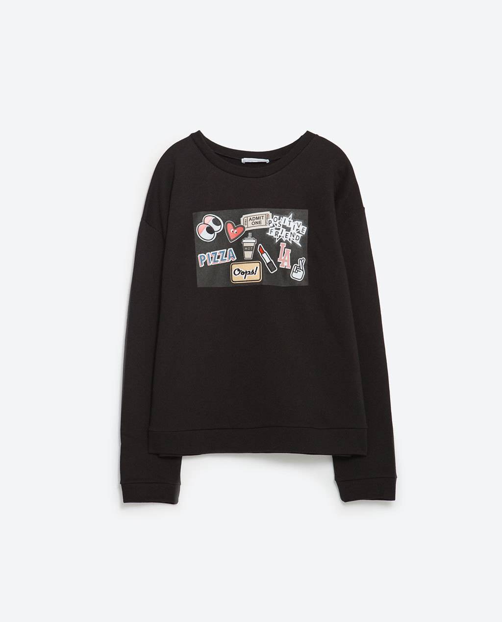 Sweatshirt With Patches - neckline: round neck; style: standard; secondary colour: white; predominant colour: black; occasions: casual; length: standard; fit: standard fit; sleeve length: long sleeve; sleeve style: standard; pattern type: fabric; pattern size: light/subtle; pattern: patterned/print; texture group: jersey - stretchy/drapey; season: a/w 2015; wardrobe: highlight