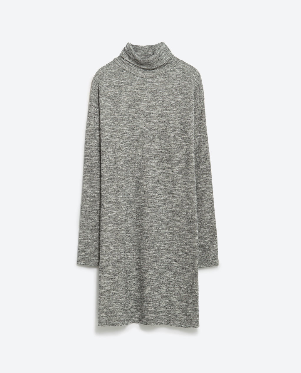 High Neck Dress - style: tunic; length: mid thigh; fit: loose; neckline: roll neck; secondary colour: white; predominant colour: mid grey; occasions: casual; fibres: polyester/polyamide - stretch; sleeve length: long sleeve; sleeve style: standard; pattern type: fabric; pattern size: standard; texture group: jersey - stretchy/drapey; pattern: marl; season: a/w 2015; wardrobe: basic