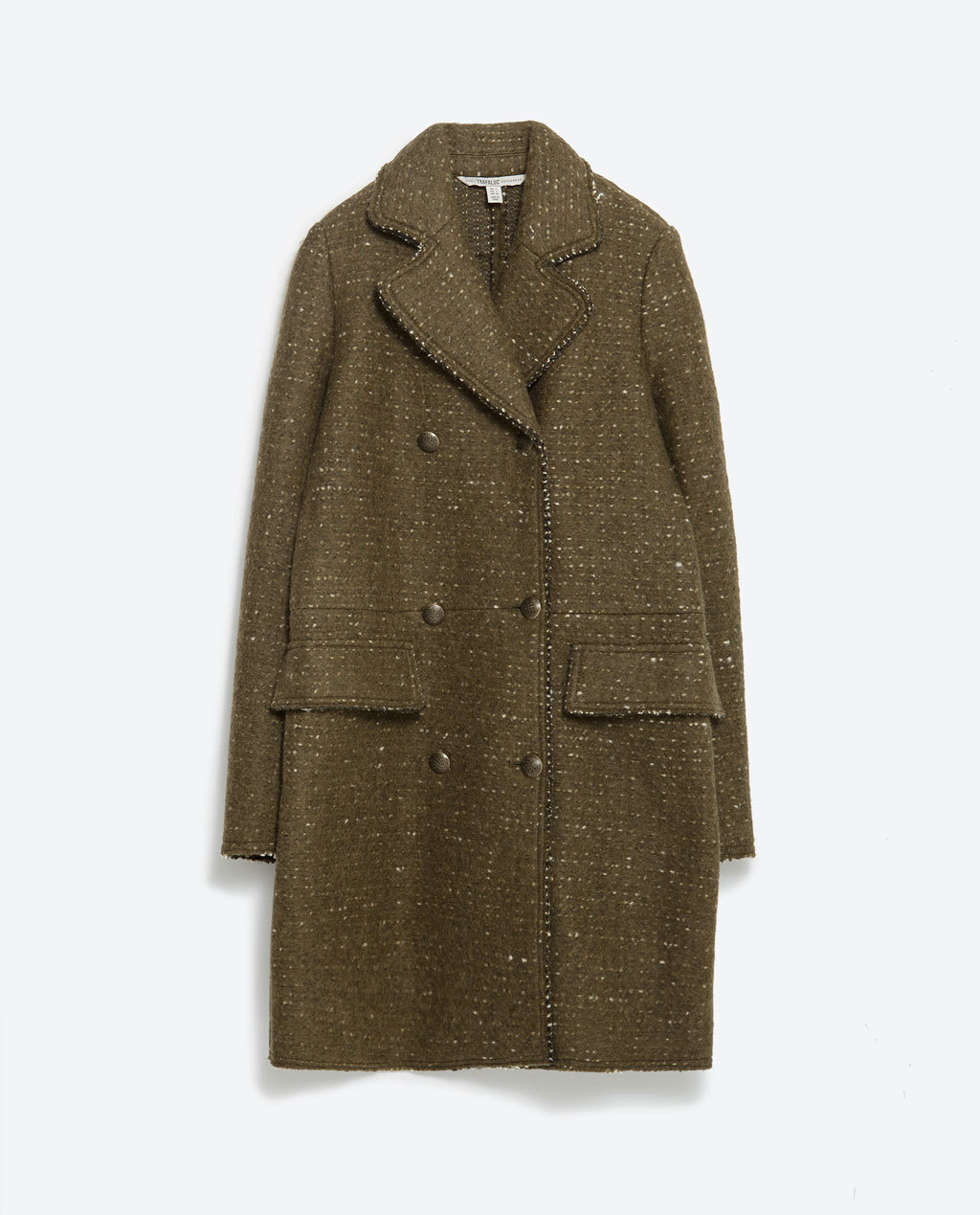 Fabric Coat - pattern: plain; style: double breasted; collar: standard lapel/rever collar; length: mid thigh; predominant colour: khaki; occasions: casual, creative work; fit: straight cut (boxy); fibres: wool - mix; sleeve length: long sleeve; sleeve style: standard; collar break: medium; pattern type: fabric; texture group: woven bulky/heavy; season: a/w 2015; wardrobe: basic