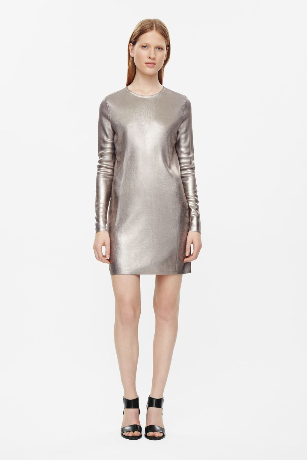 Metallic Coated Dress - style: t-shirt; length: mini; pattern: plain; predominant colour: gold; occasions: evening; fit: body skimming; fibres: polyester/polyamide - stretch; neckline: crew; sleeve length: long sleeve; sleeve style: standard; pattern type: fabric; texture group: jersey - stretchy/drapey; season: a/w 2015; wardrobe: event