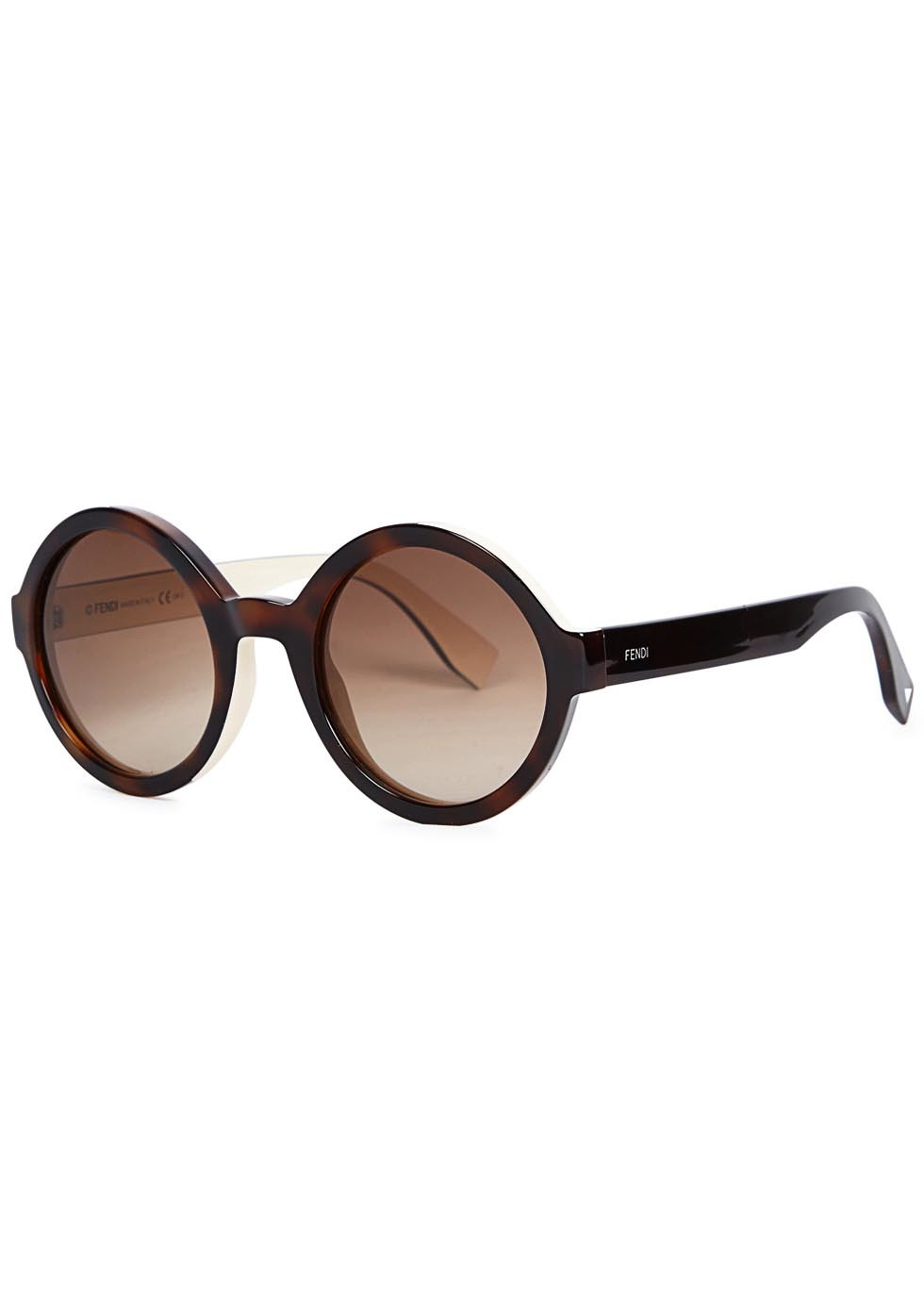 Tortoiseshell Round Frame Sunglasses - predominant colour: chocolate brown; occasions: casual, holiday; style: round; size: standard; material: plastic/rubber; pattern: plain; finish: plain; season: a/w 2015; wardrobe: basic