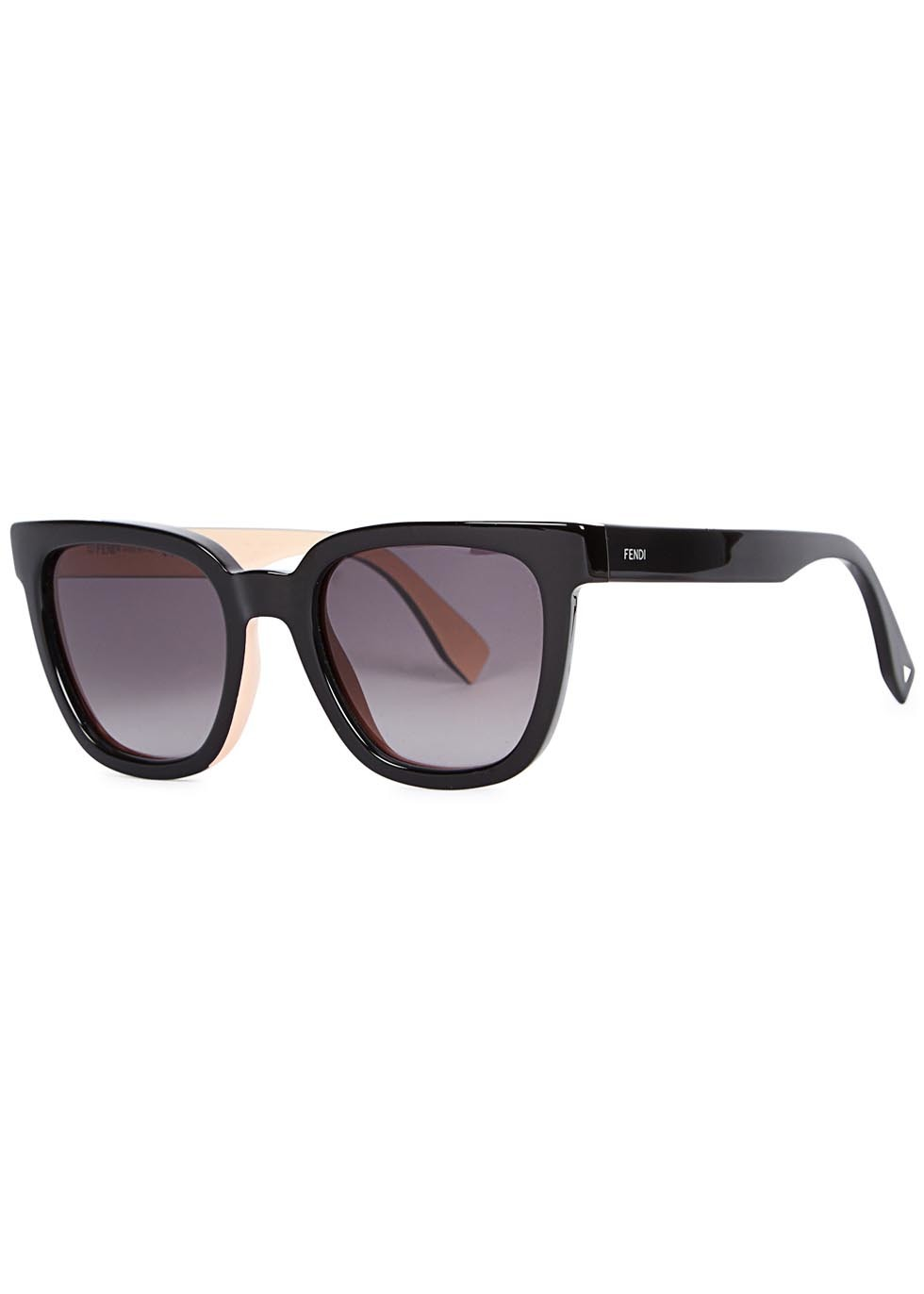 Black Wayfarer Style Sunglasses - predominant colour: black; occasions: casual, holiday; style: d frame; size: standard; material: plastic/rubber; pattern: plain; finish: plain; season: a/w 2015; wardrobe: basic