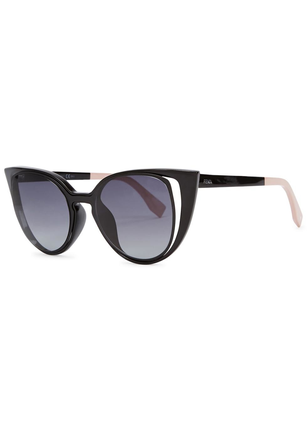 Black Cut Out Cat Eye Sunglasses - predominant colour: black; occasions: casual, holiday; style: cateye; size: large; material: plastic/rubber; pattern: plain; finish: plain; season: a/w 2015