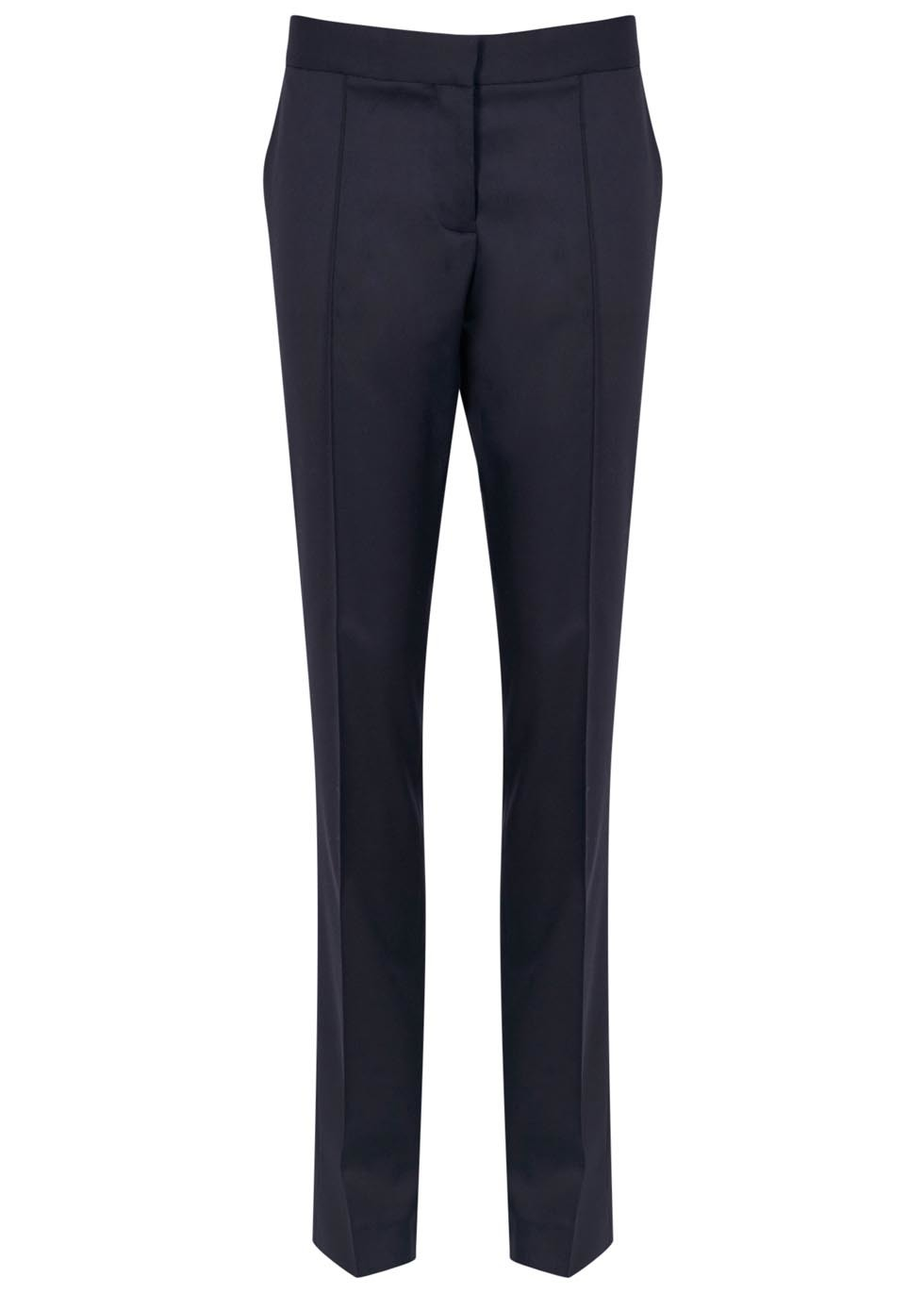 Anna Navy Wool Trousers - length: standard; pattern: plain; waist: mid/regular rise; predominant colour: navy; occasions: casual, work, creative work; fibres: wool - 100%; fit: straight leg; pattern type: fabric; texture group: woven light midweight; style: standard; pattern size: standard (bottom); season: a/w 2015
