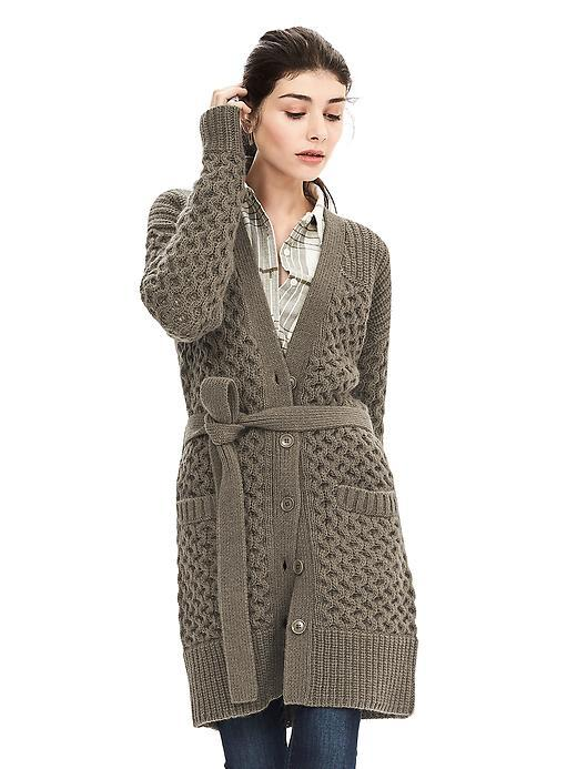 Cable Knit Belted Long Cardigan Tigers Eye Green - neckline: low v-neck; pattern: plain; style: wrap; hip detail: front pockets at hip; predominant colour: khaki; occasions: casual, creative work; fibres: wool - mix; fit: standard fit; length: mid thigh; waist detail: belted waist/tie at waist/drawstring; sleeve length: long sleeve; sleeve style: standard; texture group: knits/crochet; pattern type: knitted - fine stitch; season: a/w 2015