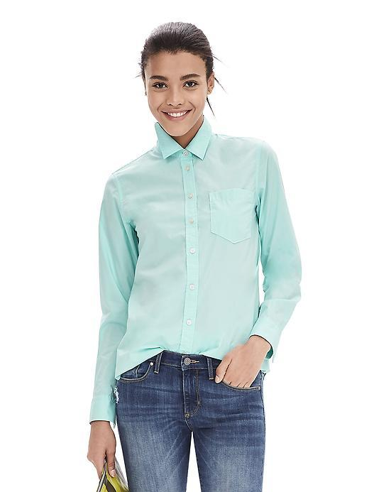 Classic Fit One Pocket Shirt Soft Turquoise - neckline: shirt collar/peter pan/zip with opening; pattern: plain; style: shirt; predominant colour: turquoise; occasions: casual, creative work; length: standard; fibres: cotton - 100%; fit: straight cut; sleeve length: long sleeve; sleeve style: standard; texture group: cotton feel fabrics; pattern type: fabric; season: a/w 2015
