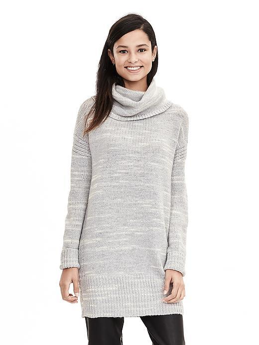 Spacedye Turtleneck Tunic Gray Texture - neckline: cowl/draped neck; style: tunic; secondary colour: white; predominant colour: light grey; occasions: casual; fibres: wool - mix; fit: straight cut; length: mid thigh; sleeve length: long sleeve; sleeve style: standard; texture group: knits/crochet; pattern type: knitted - fine stitch; pattern size: standard; pattern: marl; season: a/w 2015