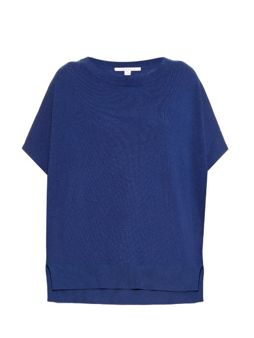 Essex Sweater - neckline: round neck; pattern: plain; style: standard; predominant colour: royal blue; occasions: casual, work, creative work; length: standard; fit: loose; back detail: longer hem at back than at front; sleeve length: short sleeve; sleeve style: standard; texture group: knits/crochet; pattern type: knitted - fine stitch; season: a/w 2015