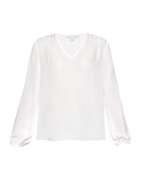 Arlenis Shirt - neckline: v-neck; pattern: plain; style: shirt; predominant colour: white; occasions: casual, work, creative work; length: standard; fibres: silk - mix; fit: straight cut; sleeve length: long sleeve; sleeve style: standard; texture group: sheer fabrics/chiffon/organza etc.; pattern type: fabric; season: a/w 2015