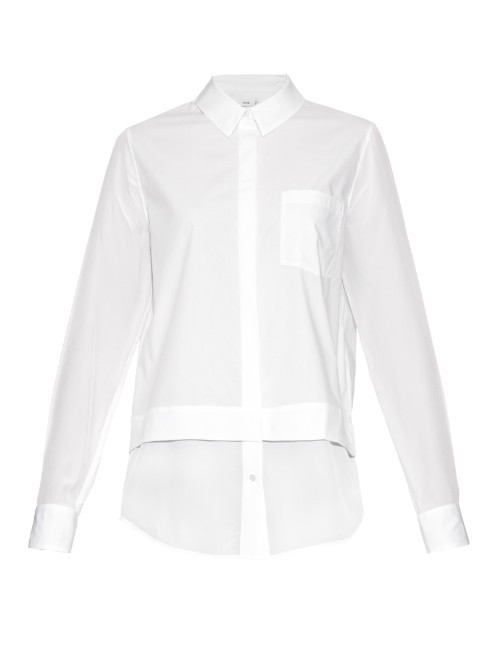 Silk Hem Long Sleeved Shirt - neckline: shirt collar/peter pan/zip with opening; pattern: plain; style: shirt; predominant colour: white; occasions: casual, work, creative work; length: standard; fibres: silk - 100%; fit: straight cut; sleeve length: long sleeve; sleeve style: standard; texture group: crepes; pattern type: fabric; season: a/w 2015; wardrobe: basic