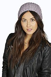 Sequinned Slouch Beanie Hat Lilac - predominant colour: lilac; occasions: casual; type of pattern: standard; style: beanie; size: standard; material: knits; pattern: plain; season: a/w 2015