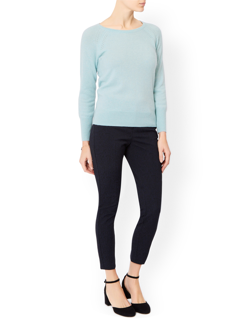 Viola Cashmere Crew Neck Jumper - neckline: round neck; pattern: plain; style: standard; predominant colour: pale blue; occasions: casual, work, creative work; length: standard; fit: standard fit; fibres: cashmere - 100%; sleeve length: long sleeve; sleeve style: standard; texture group: knits/crochet; pattern type: knitted - fine stitch; season: a/w 2015
