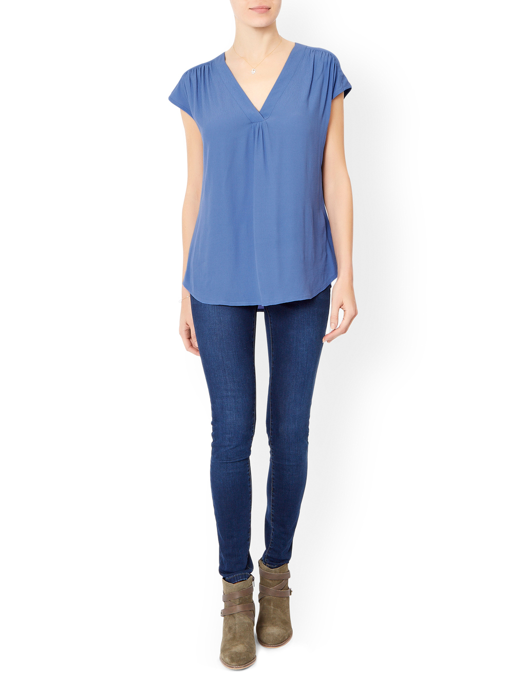 Lauren Blouse - neckline: v-neck; sleeve style: dolman/batwing; pattern: plain; style: blouse; predominant colour: denim; occasions: casual, creative work; length: standard; fibres: polyester/polyamide - 100%; fit: straight cut; sleeve length: long sleeve; pattern type: fabric; texture group: jersey - stretchy/drapey; season: a/w 2015