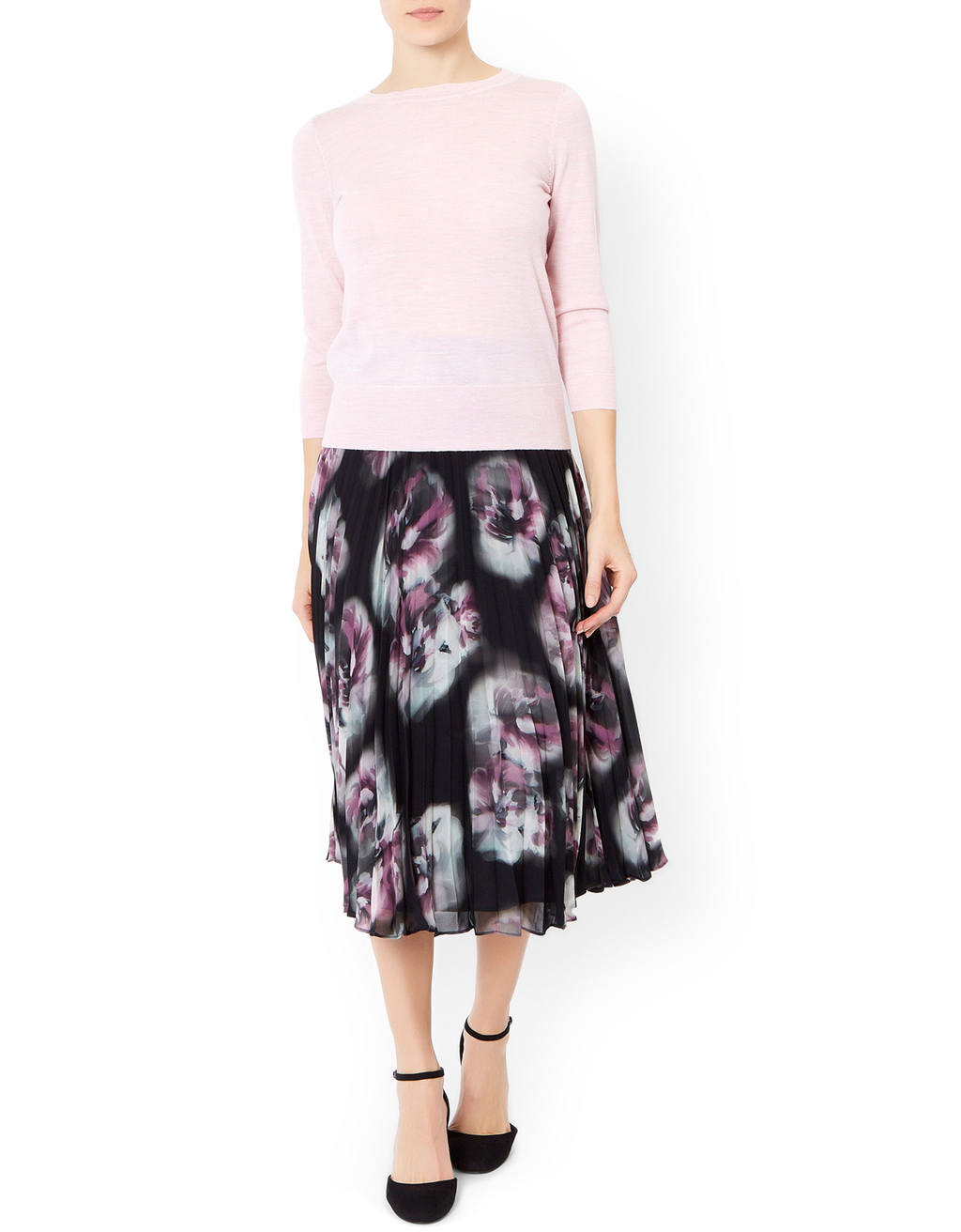 Phillipa Pleat Skirt - length: below the knee; fit: loose/voluminous; style: pleated; waist: high rise; predominant colour: black; fibres: polyester/polyamide - 100%; occasions: occasion; hip detail: structured pleats at hip; pattern type: fabric; pattern: patterned/print; texture group: other - light to midweight; pattern size: big & busy (bottom); season: a/w 2015