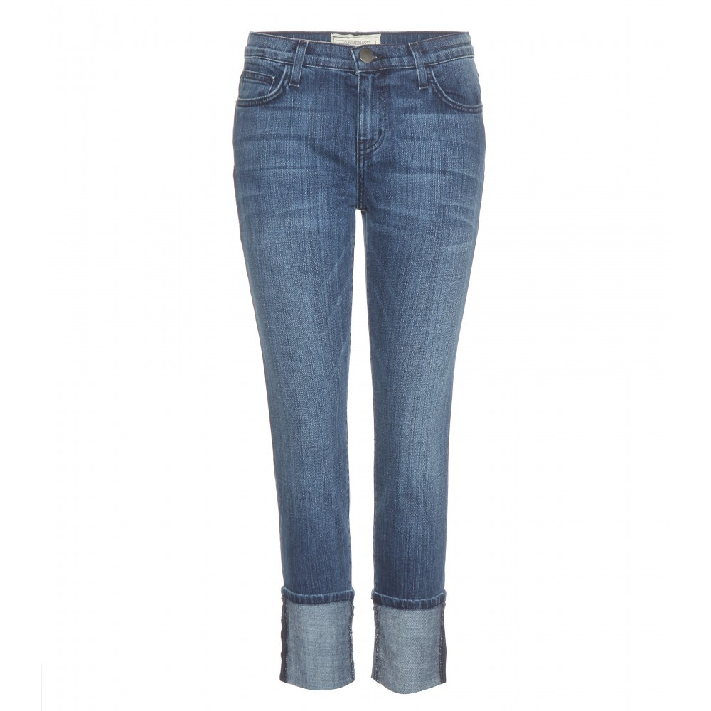 The Cuffed Skinny Jeans - style: skinny leg; length: standard; pattern: plain; pocket detail: traditional 5 pocket; waist: mid/regular rise; predominant colour: denim; occasions: casual; fibres: cotton - stretch; jeans & bottoms detail: turn ups; texture group: denim; pattern type: fabric; season: a/w 2015; wardrobe: basic