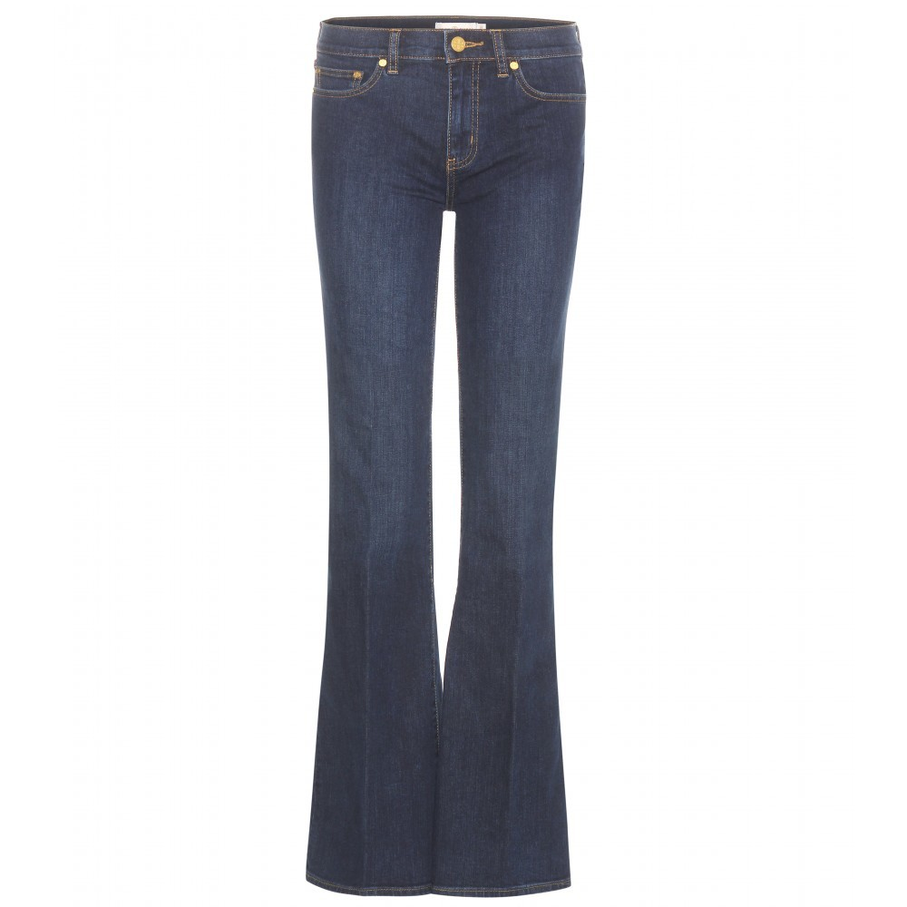 Skinny Flare Jeans - style: flares; length: standard; pattern: plain; waist: low rise; pocket detail: traditional 5 pocket; predominant colour: navy; occasions: casual, creative work; fibres: cotton - stretch; jeans detail: dark wash; texture group: denim; pattern type: fabric; season: a/w 2015; wardrobe: basic