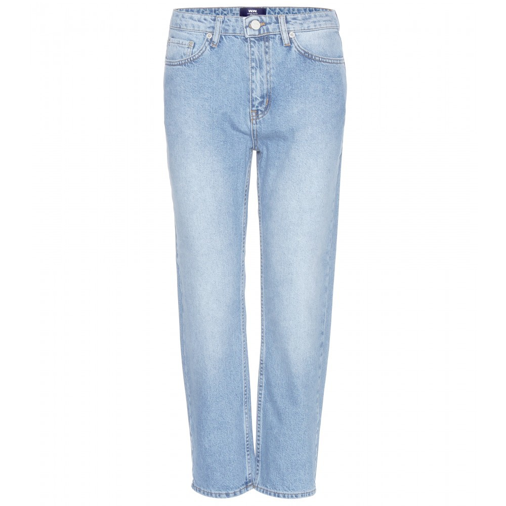 Eve Boyfriend Fit Jeans - style: boyfriend; length: standard; pattern: plain; waist: high rise; pocket detail: traditional 5 pocket; predominant colour: pale blue; occasions: casual; fibres: cotton - stretch; jeans detail: shading down centre of thigh; texture group: denim; pattern type: fabric; season: a/w 2015; wardrobe: basic