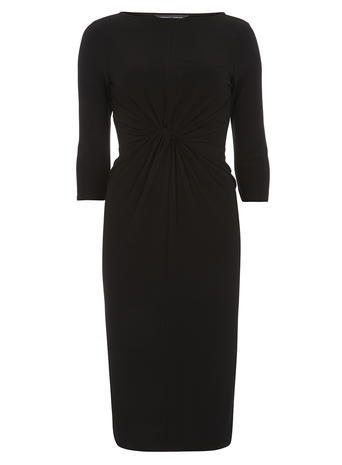 Womens **Tall Black Knot Bodycon Dress Black - style: shift; length: below the knee; neckline: slash/boat neckline; pattern: plain; predominant colour: black; occasions: evening, work; fit: body skimming; fibres: polyester/polyamide - stretch; sleeve length: 3/4 length; sleeve style: standard; texture group: jersey - stretchy/drapey; season: a/w 2015; wardrobe: investment