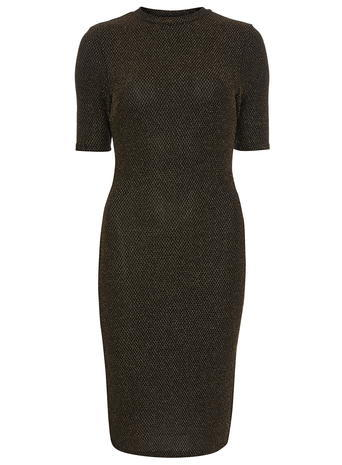 Womens Gold Bodycon Dress Gold - style: shift; pattern: plain; neckline: high neck; predominant colour: gold; occasions: evening; length: on the knee; fit: body skimming; fibres: polyester/polyamide - stretch; sleeve length: half sleeve; sleeve style: standard; pattern type: fabric; texture group: jersey - stretchy/drapey; season: a/w 2015
