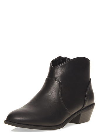 Womens Black 'mia' Western Boots Black - predominant colour: black; occasions: casual, creative work; material: faux leather; heel height: mid; heel: block; toe: pointed toe; boot length: ankle boot; style: standard; finish: plain; pattern: plain; season: a/w 2015