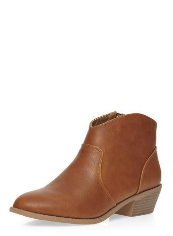 Womens Tan 'mia' Western Boots Brown - predominant colour: tan; occasions: casual, creative work; material: faux leather; heel height: mid; heel: block; toe: pointed toe; boot length: ankle boot; style: standard; finish: plain; pattern: plain; season: a/w 2015; wardrobe: highlight