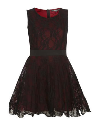 Womens **Mela Black Lace Prom Dress Black - length: mid thigh; pattern: plain; sleeve style: sleeveless; style: prom dress; secondary colour: true red; predominant colour: black; occasions: evening; fit: fitted at waist & bust; fibres: polyester/polyamide - stretch; neckline: crew; sleeve length: sleeveless; texture group: lace; pattern type: fabric; multicoloured: multicoloured; season: a/w 2015; wardrobe: event