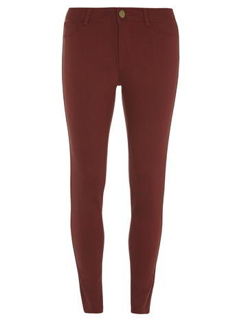 Womens Petite Rust 'frankie' Jeggings Red - length: standard; pattern: plain; style: jeggings; waist: mid/regular rise; predominant colour: terracotta; occasions: casual; fibres: cotton - stretch; texture group: denim; pattern type: fabric; season: a/w 2015; wardrobe: highlight