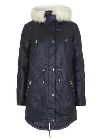 Womens Navy Shimmer Luxe Coated Parka Blue - pattern: plain; style: parka; back detail: hood; collar: high neck; length: mid thigh; predominant colour: navy; occasions: casual; fit: straight cut (boxy); fibres: cotton - 100%; sleeve length: long sleeve; sleeve style: standard; texture group: technical outdoor fabrics; collar break: high; pattern type: fabric; embellishment: fur; season: a/w 2015; wardrobe: highlight
