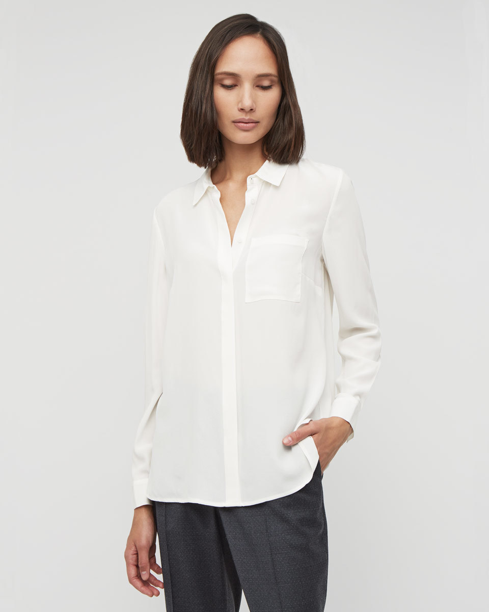 Silk Shirt - neckline: shirt collar/peter pan/zip with opening; pattern: plain; style: shirt; predominant colour: white; occasions: work; length: standard; fibres: silk - 100%; fit: body skimming; sleeve length: long sleeve; sleeve style: standard; texture group: crepes; pattern type: fabric; season: a/w 2015